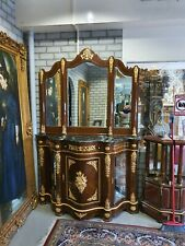 BAROQUE STYLE WOOD / BRASS COMMODE WITH MARBLE TOP AND MIRROR  #MB130