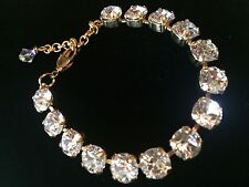 Swarovski Crystal Elements 8mm Bracelet Clear Crystal Stones In Gold Cup Chain