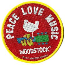 Music GUITAR DOVE Embroidered iron on Patch 3 18 Love WOODSTOCK Peace