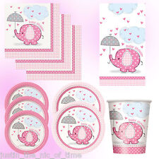 Baby Shower Tableware Party Supplies Pink Elephants Girl Girls Napkin Plate Cup