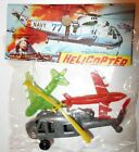 VINTAGE NOS Mini Plastic Dime Store Navy Helicopter  Planes Set Hong Kong NIP