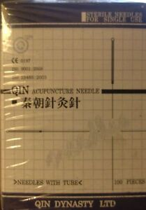 100 pcs Qin Acupuncture Needles 0.25 x 25mm 0.25 x 40mm with guide tube no box