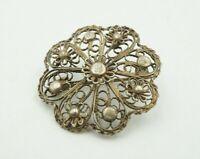 Vintage Sterling Silver Filigree Flower Pin Brooch