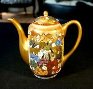 Stunning Satsuma Antique Japanese Hand Painted Eggshell Porcelain Coffee Pot