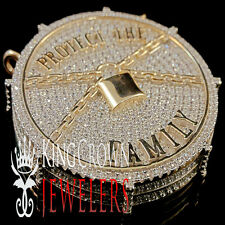 10K Rose Gold Silver Protect The Family Medallion Simu Diamond 3D Pendant Charm