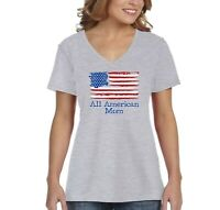 Women's All American Mom USA Flag Mother's Day Birthday Gift V-Neck T-Shirt