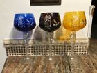 3 Cut To Clear Bohemian 8 Hock Wine Glasses GORGEOUS