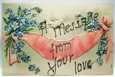 1910 Postcard Dove & Pink Ban 00006000 Ner, Glitter, A Message From Your Love