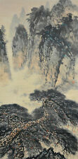 Vintage Chinese Watercolor MOUNTAIN PINE TREE Wall Hanging Scroll Painting