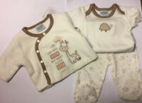Unisex Cream 3 Piece 0-3mth Size Set With Giraffes Trousers/Vest/Jacket BNWT