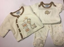 Unisex panna 3 PEZZI Tiny BABY SET CON LE GIRAFFE Pantaloni/Gilet/giacca nuova con etichetta