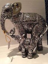 Shudehill Silver Mosaic Mirror Rococo Elephant & Baby Ornament Gift Figurine