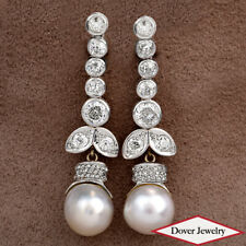 Antique Deco 5.25ct Diamond Platinum Gold Dangle Drop Earrings 15.1 Grams NR