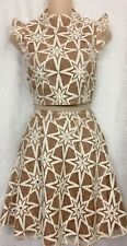For Love Of Lemons 2pc Skirt And Top Bone And Beige Embroidered  NWT  Size Xs