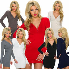 Damenkleider mit V-Ausschnitt ohne Muster für die Freizeit