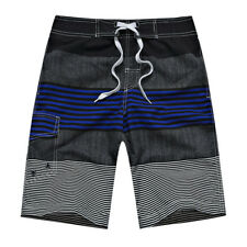 Men's Quick Dry Casual Stripe Casual Sport Swim Trunk Beach Shorts With Pockets