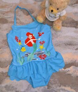NEW Little Girls M&S Disney Little Mermaid Swimming Costume Age 12-18 Months