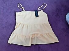 NWT tiered yellow strappy top by New Look, size 14