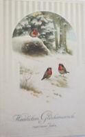 """ New Year, Bird, Winter Landscape "" 1915, Embossed Postcard"