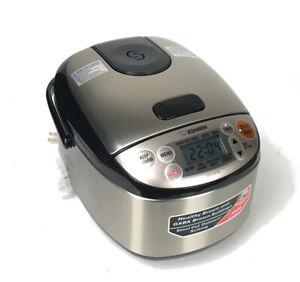Zojirushi NS-LGC05 Rice Cooker & WarmerSilver Black + Cup Tested & Working