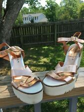 PALOMITAS PALOMA BARCELO Copper Leather  Strap  Wedge Sandals 40/9
