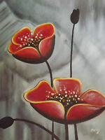 abstract red poppies large oil painting canvas flowers floral modern original