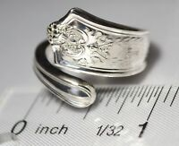 Antique 1909 TIFFANY & Co WINTHROP T Mono SIZE 7 STERLING  Spoon Ring  Free Ship