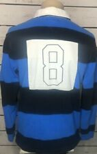 TOMMY HILFIGER Blue Striped Long Sleeve Rugby Shirt Mens Size Medium Ships Free