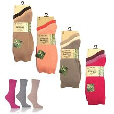 3/6 Pairs Ladies Bamboo Non Elastic Thin Soft Plain Antibacterial Women Socks