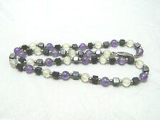 Glass Hematite Beaded Necklace Choker Vtg Silver Tone Purple Clear