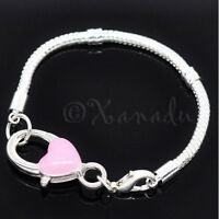 European Charm Bracelet Chain With Pink Heart Lobster Clasp For Large Hole Beads