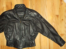 Wilsons Leather Jacket Motorcycle MED Womens 10-12 VINTAGE Black Coat WC7E