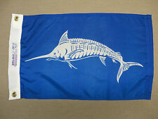 "White Marlin Fish White Blue Indoor Outdoor Dyed Nylon Flag Grommets 12"" X 18"""