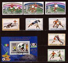 92T1 COREE  Toutes les actions du fooball. 8 timbres  et 1 bloc oblitérés