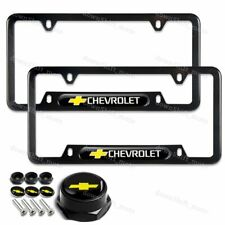 X2 For CHEVY CHEVROLET Black Stainless License Plate Frame W/ Caps Bolt Set NEW