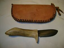 custom made antler skinning knife with case for civil war reenacting