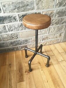 Vintage style Bar stool Genuine Leather Industrial style Adjustable Height
