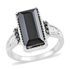 Natural Thai Black Spinel Ring in Stainless Steel (Size 10.0) 8.88 ctw