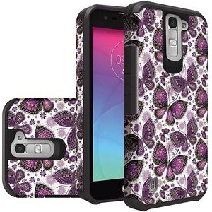CuTe Purple Butterfly Durable Dual Layer Hybrid Cover for LG K7 Tribute J5