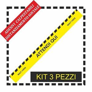 Adesivo Calpestabile distanza di sicurezza negozio ATTENDI QUI KIT 3 PZ
