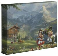 Thomas Kinkade Studios Mickey and Minnie In The Alps 8 x 10 Canvas Wrap