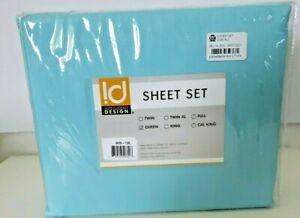 Intelligent Design Wrinkle Resistant, Soft Queen Light Blue  Sheets Set-New