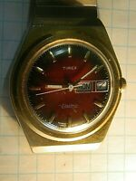 VINTAGE TIMEX ELECTRIC WATCH ENGLAND MAROON DIAL