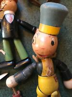 Jiminy Cricket Antique Old Wooden Jointed Toy Figure Disney