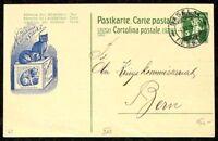 s1767c) Ganzsache Hoffmann´s Stärke mit blauer Katze Privat-GA Schweiz 1915