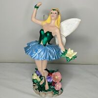 "Hand Painted Pottery 13"" MYTHICAL FAIRY Large Figurine Blonde Metallic Paint"