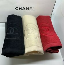 *NEW* CHANEL Hand Face Towel SET OF 3 Color Beige Red Black BNIB Box VIP Gift