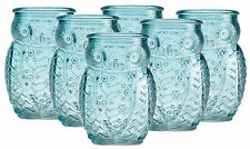 Night Owl Shot Glasses Six Blue Embossed Shooters Home Essentials 2.8 ounces