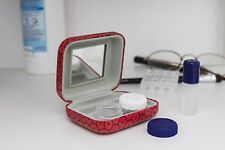 Kikkerland Red & Black Contact Lens Travel Kit Lense Kit Storage Hard Case Gift
