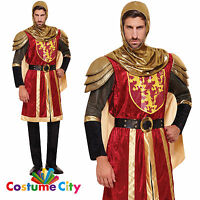 Adults Mens Red Medieval Crusader Knight Fancy Dress Party Halloween Costume